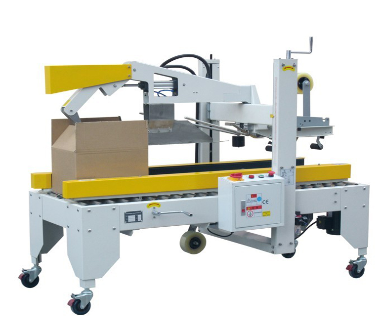 carton boxes sealer equipment with adhesive tapes folding cover sealing machinery Semi automatic Carton Flaps Folding Machine