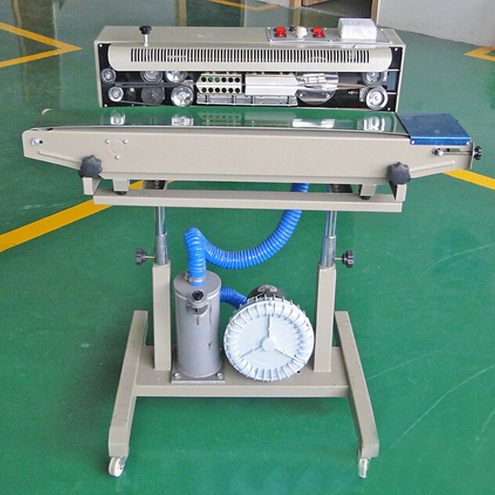 aluminum foil bags film continuous sealing machine with nitrogen gas filling inflatable puffed food bag sealer